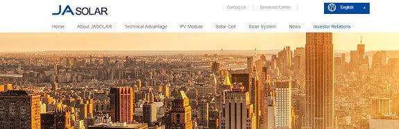 Ja Solar Web Sayfası