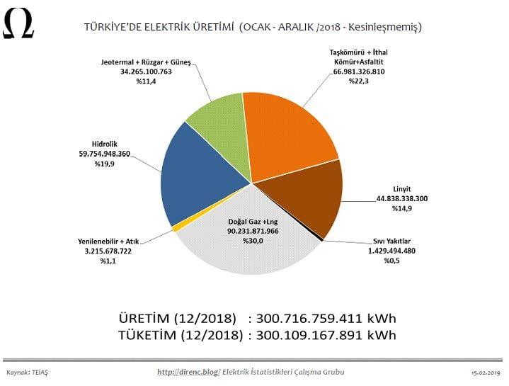Türkiye'de Elektrik Üretimi (Ocak-Aralık / 2018-Kesinleşmemiş)