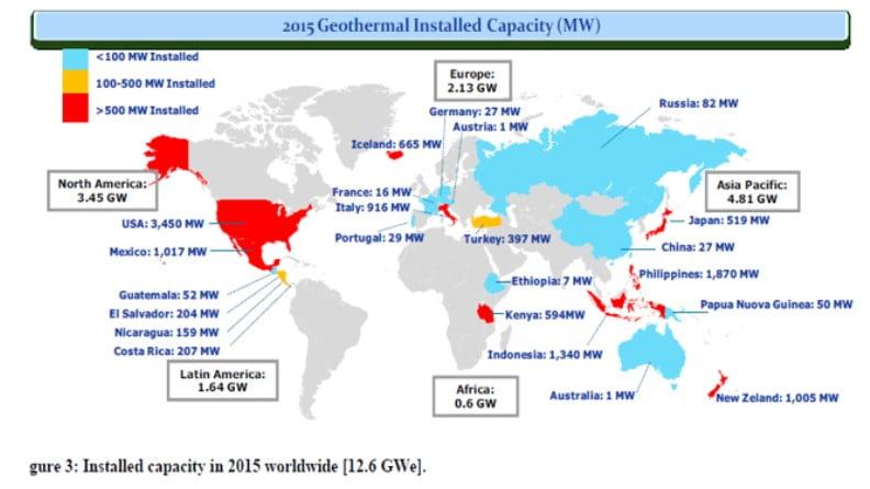 2015 yılında dünyadaki kurulu jeotermal kapasitesi