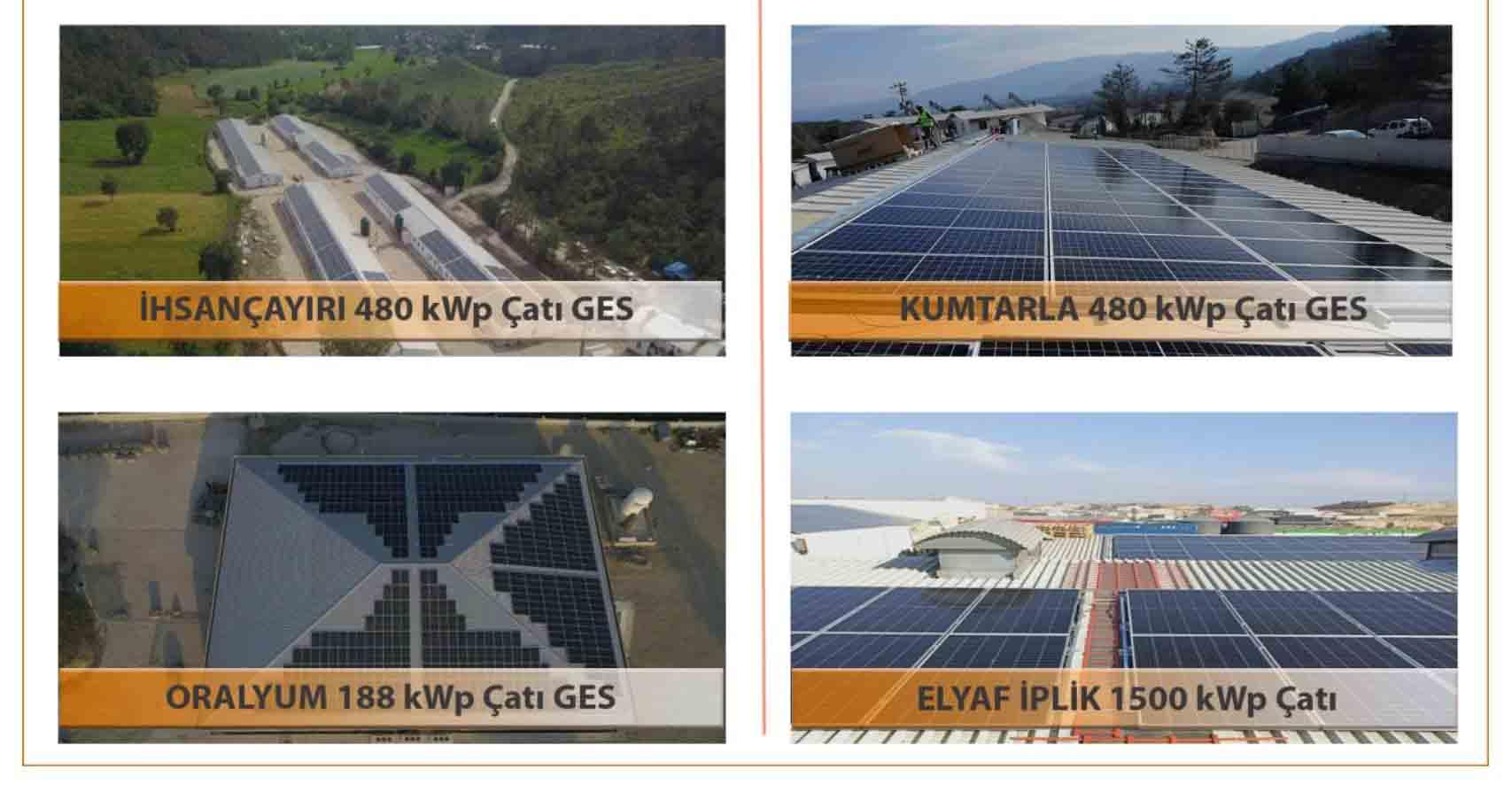 Çatı Üzeri Güneş Enerji Sistemleri referansları